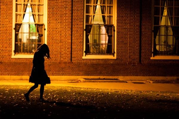 Girl walking home alone