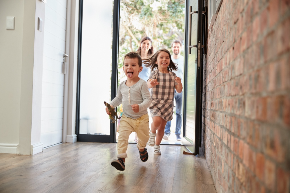 Kids running into house after getting inspection quote